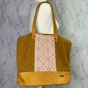 Roxy boho embroidered tote shoulder bag zipper